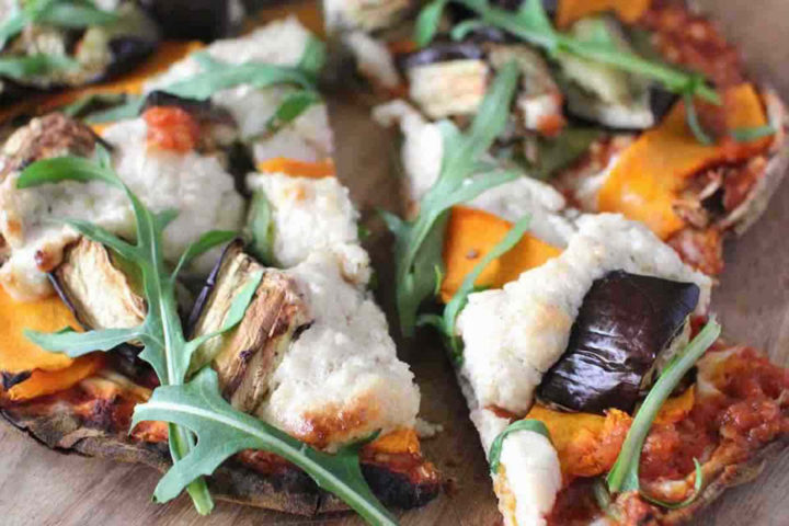 Pumpkin Eggplant and Rocket Pizza