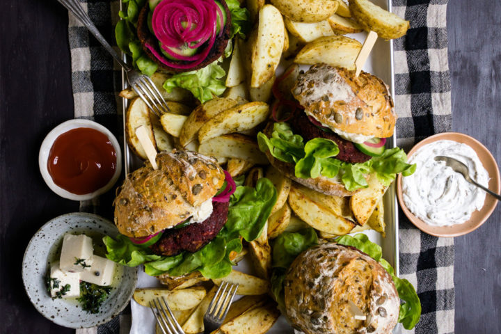 Beetroot and Black Bean Burgers